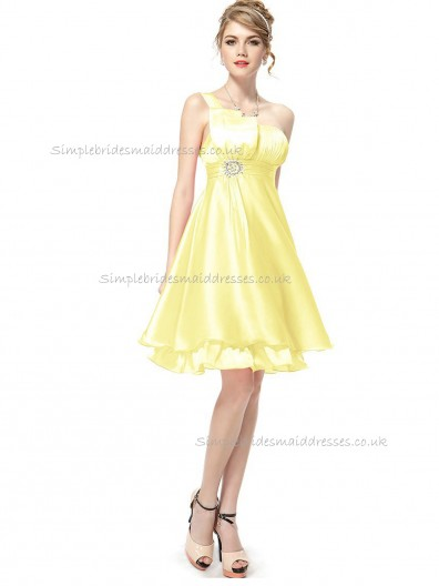 UK Best Daffodil A-line Organza Beading Knee-length One Shoulder Bridesmaid Dress