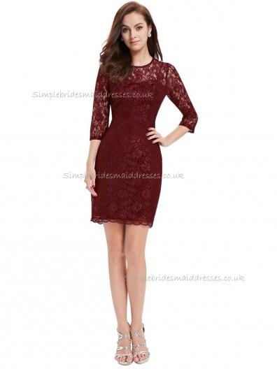 Beautiful Amazing Burgundy Column / Sheath Lace Short-length Bateau Bridesmaid Dress