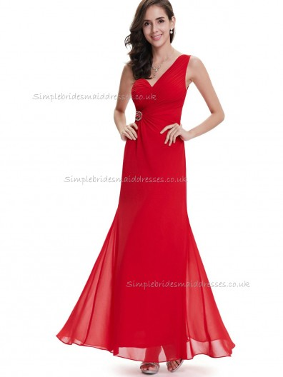 Online Red Mermaid Chiffon Beading Floor-length One Shoulder Bridesmaid Dress