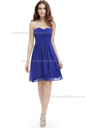 Designer Stunning Royal Blue A-line Chiffon Knee-length Sweetheart Bridesmaid Dress