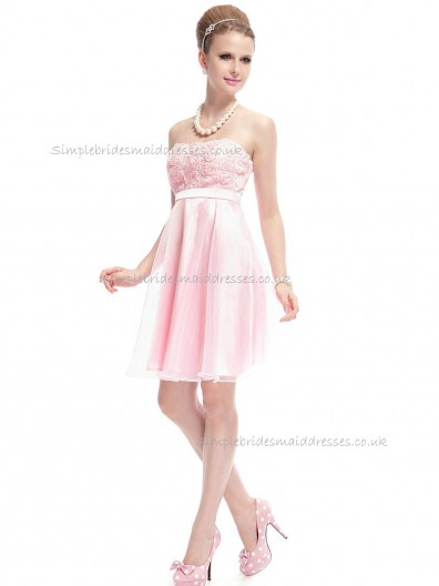 UK Romantica Pink A-line Hand Made Flower Knee-length Bateau Bridesmaid Dress
