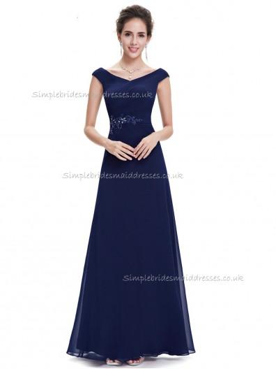 UK Girls Dark Navy A-line Chiffon Applique Floor-length V-neck Bridesmaid Dress