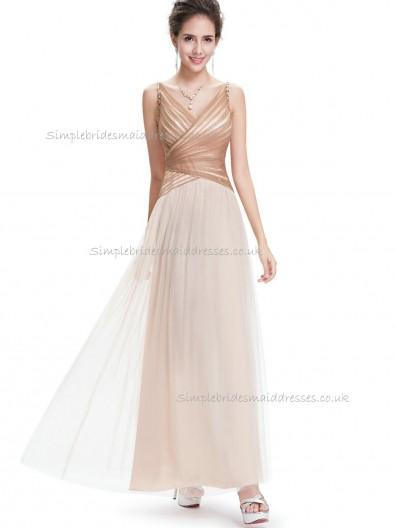 Multicolor Vintage Champagne A-line tulle Floor-length V-neck Bridesmaid Dress
