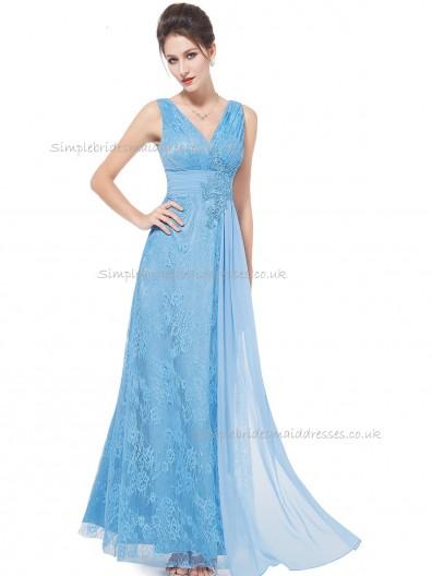 Beautiful Amazing Blue A-line Lace Applique Floor-length V-neck Bridesmaid Dress