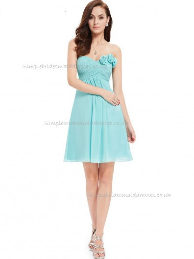 UK Stunning Blue A-line Chiffon Hand Made Flower Knee-length Sweetheart Bridesmaid Dress