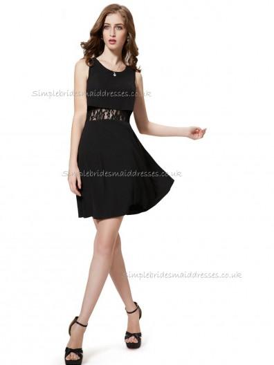 Budget Stunning Black A-line Satin Lace Short-length Bateau Bridesmaid Dress