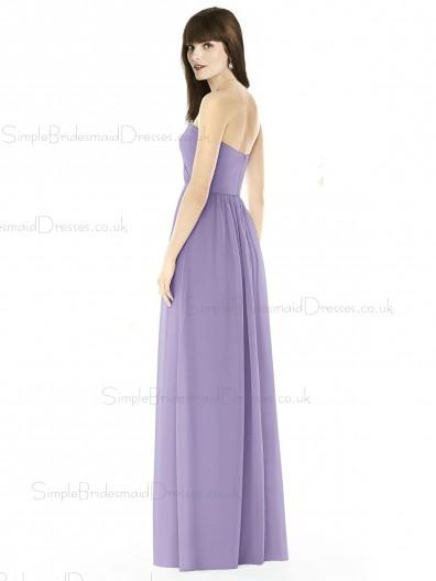 Vintage Girls Lilac A-line Long Sweertheart Naturl Waist Bridesmaid Dress
