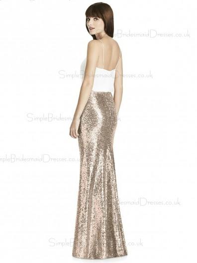 Cheap Stunning Column / Sheath Sequin V-neck Floor-length Gold Sleeveless Empire Waist Backless Bridesmaid Dress
