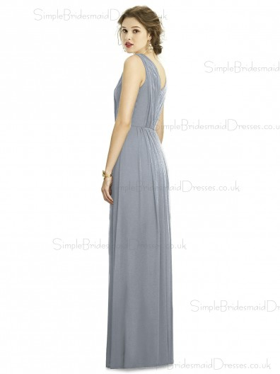 Elegant Silver A-line Ruffles Chiffon V-neck Floor-length Sleeveless Natural Bridesmaid Dress