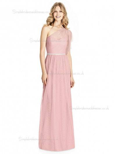 Budget Elegant Sweetheart Candy Pink Belt / Beading Floor-length A-line soft tulle Bridesmaid Dress