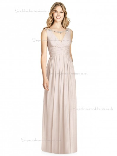 Elegant Celebrity Floor-length Pearl Pink Lux Chiffon Draped V-neck A-line Bridesmaid Dress