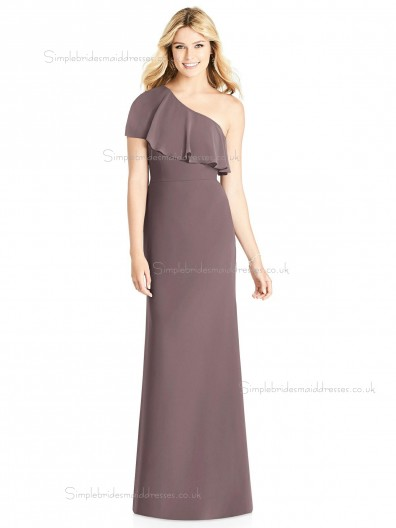 Vintage Amazing Matte Chiffon Column / Sheath Floor-length One Shoulder french truffle Tiered Bridesmaid Dress