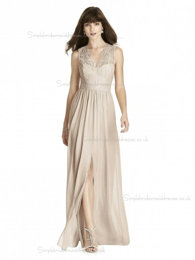 Budget Romantica A-line Lace Lux Chiffon V-neck Pearl Pink floor-length Bridesmaid Dress