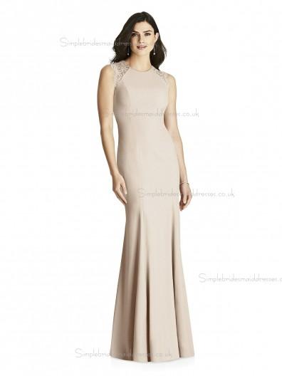 Budget Girls floor-length Lace Mermaid Satin Pearl Pink Bridesmaid Dress