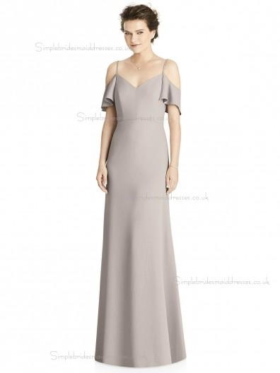 Beautiful Romantica taupe V-neck Mermaid Satin floor-length Bridesmaid Dress