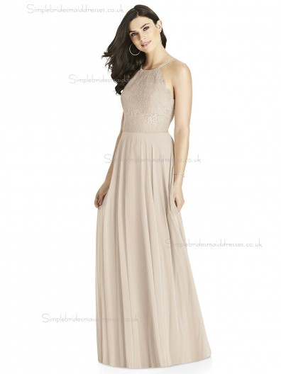 Girls Champagne Chiffon A-line floor-length Lace Bridesmaid Dress