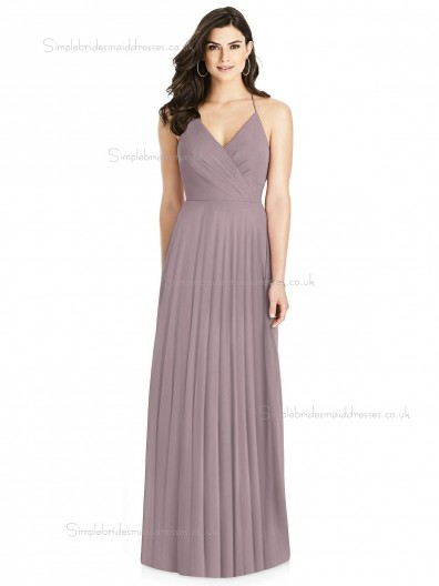 Elegant Best Plus Size Draped V-neck A-line desert rose Chiffon floor-length Bridesmaid Dress