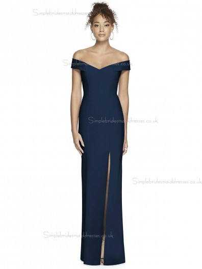 Vintage Stunning Satin Off-the-shoulder Dark Navy Split Column / Sheath floor-length Bridesmaid Dress