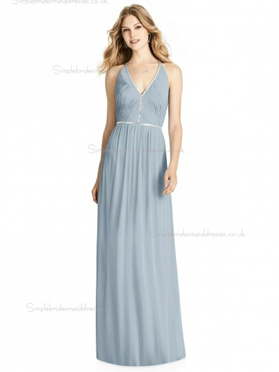 Budget V-neck Ruffles / Beading A-line Chiffon mist Floor-length Bridesmaid Dress