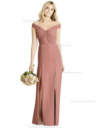 UK Romantica desert Satin Column / Sheath Floor-length Split rose V-neck Bridesmaid Dress