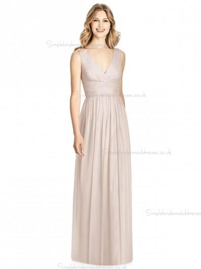 Beautiful Girls floor-length A-line Lux Chiffon V-neck blush Bridesmaid Dress