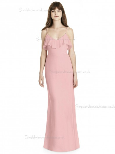 Online Stunning Chiffon Tiered Pink Column / Sheath V-neck floor-length Bridesmaid Dress