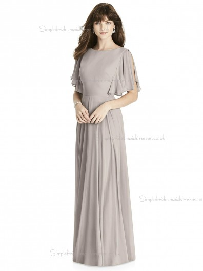 Budget Pink Chiffon Bateau Draped floor-length A-line Bridesmaid Dress