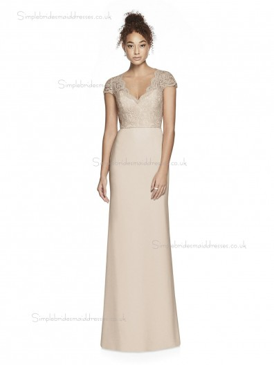 Fitted Girls V-neck Champagne Column / Sheath Lace Lace / Satin floor-length Bridesmaid Dress