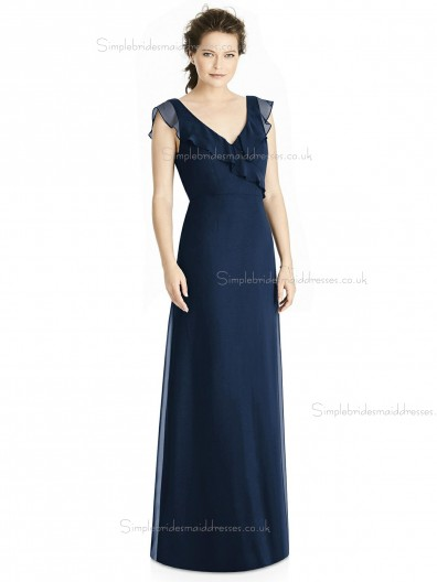 Elegant Amazing A-line Tiered Dark Navy Chiffon V-neck Floor-length Bridesmaid Dress