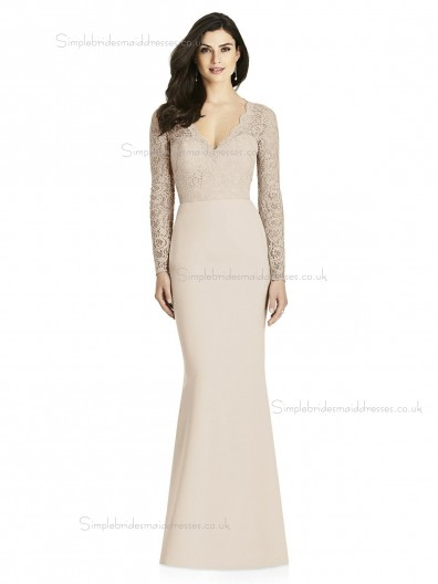 UK Romantica V-neck Satin Mermaid Champagne Floor-length Lace Bridesmaid Dress