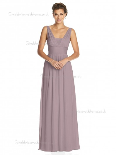 Budget Best floor-length V-neck Chiffon desert rose A-line Draped Bridesmaid Dress