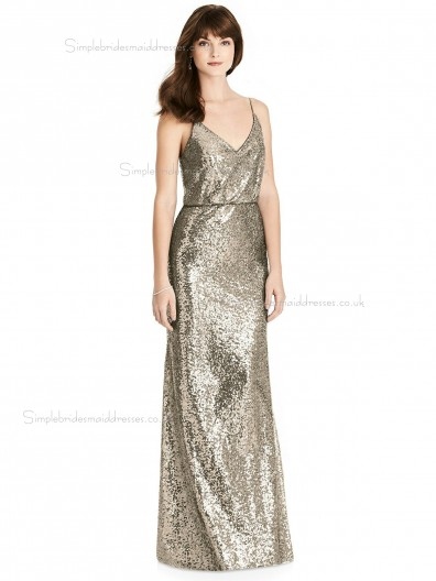 Beautiful Floor-length V-neck Sequin Champagne Column / Sheath Bridesmaid Dress