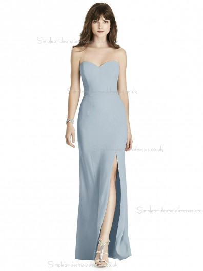 Cheap Amazing Column / Sheath Chiffon Floor-length Sweetheart mist Split Bridesmaid Dress