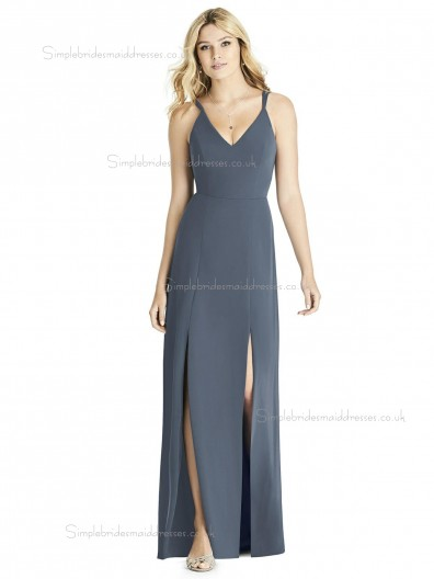 Elegant Satin A-line Gray Split floor-length Bridesmaid Dress