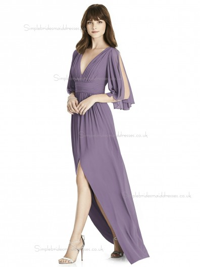 Elegant Amazing A-line Draped french truffle Chiffon V-neck floor-length Bridesmaid Dress
