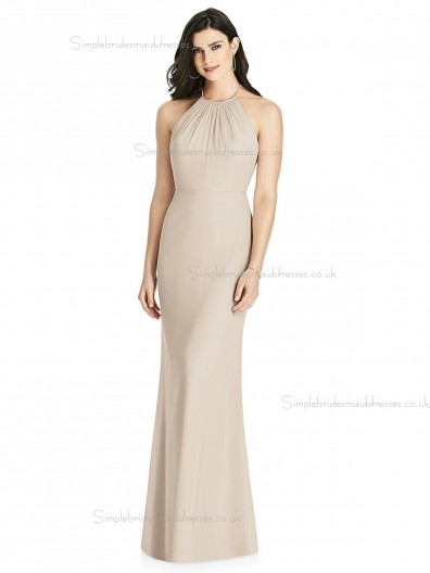 Amazing Scoop Champagne Floor-length Chiffon Mermaid Bridesmaid Dress