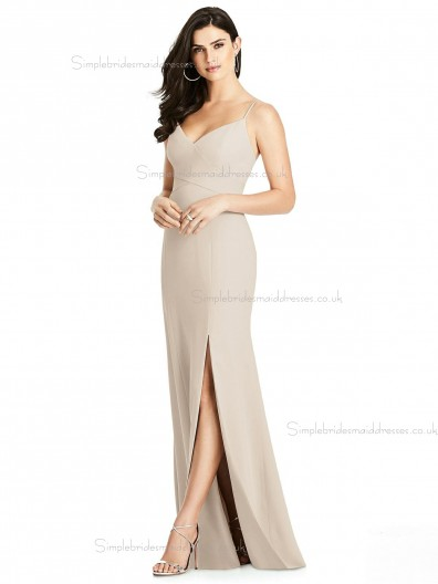 Online Discount Champagne Split Floor-length Mermaid V-neck Elastic Satin Bridesmaid Dress
