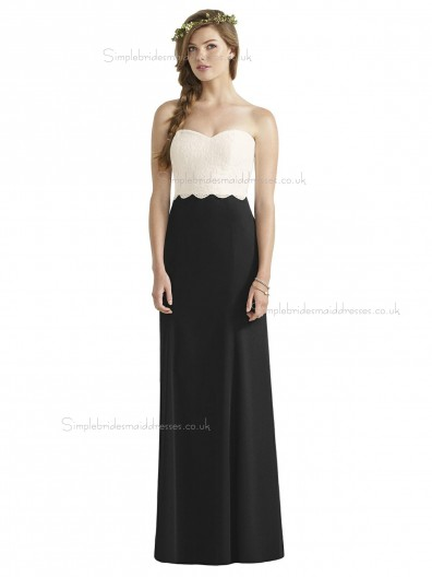 Cheap Amazing floor-length Column / Sheath Sweetheart Lace Satin Bridesmaid Dress