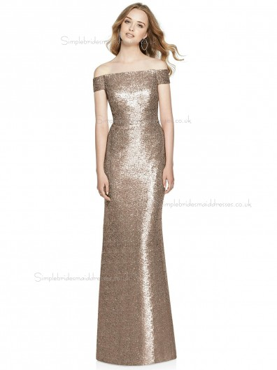 Discount Vintage Off-the-shoulder floor-length Column / Sheath Sequin Champagne Bridesmaid Dress