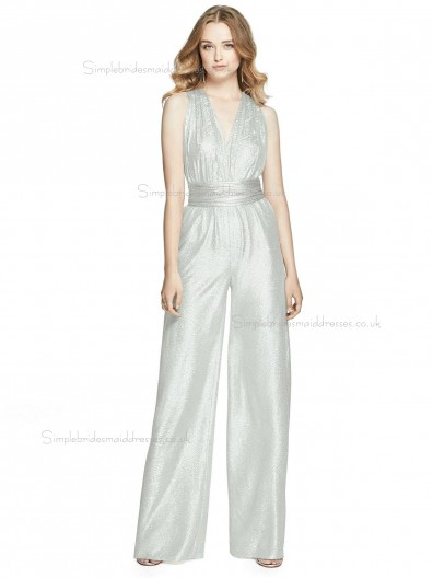 Budget Celebrity floor-length silver V-neck silver crush Bridesmaid Dress