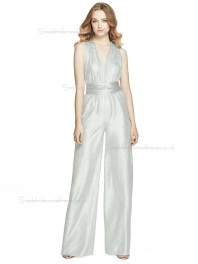 Budget Celebrity floor-length silver V-neck silver crush Bridesmaid Dress