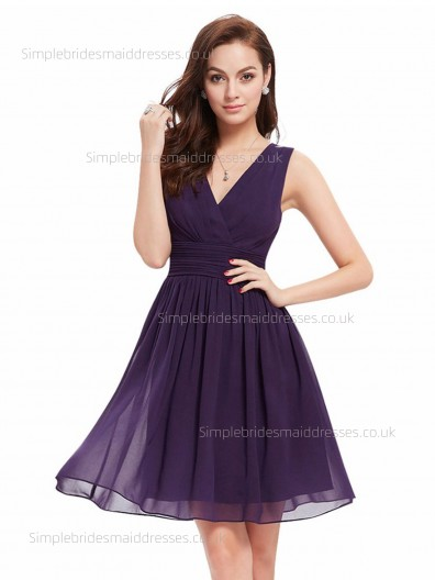 Beautiful Chiffon Knee-length Sleeveless Grape A-line Ruffles V-neck Empire Bridesmaid Dress