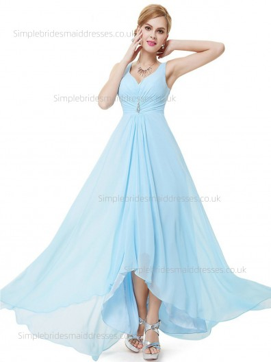 Fitted Discount Chiffon Empire Light Sky Blue Beading Sleeveless Floor-length A-line Sweetheart Bridesmaid Dress