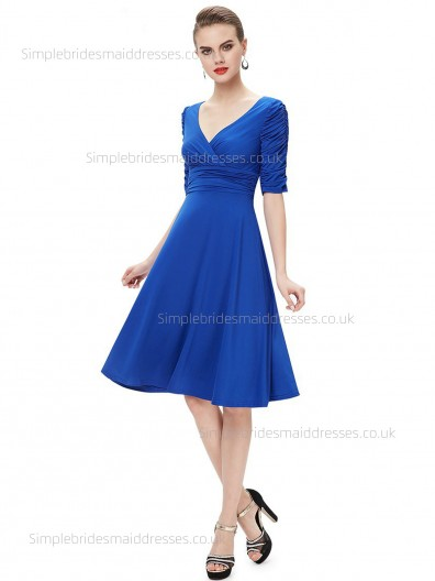 Girls V-neck Chiffon A-line Empire Knee-length Half-Sleeve Ruffles Royal Blue Bridesmaid Dress