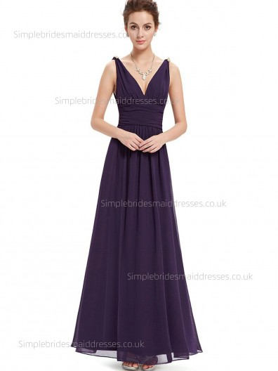 Elegant Best Plus Size Sleeveless Empire Floor-length Grape A-line V-neck Chiffon Draped Bridesmaid Dress