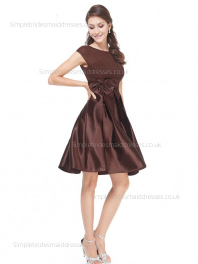 Cheap Stunning Sleeveless Hand Made Flower Satin A-line Knee-length Bateau Chocolate Empire Bridesmaid Dress
