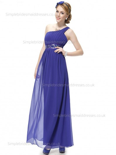 Budget Empire Floor-length Beading Chiffon One Shoulder Royal Blue Sleeveless Column Sheath Bridesmaid Dress