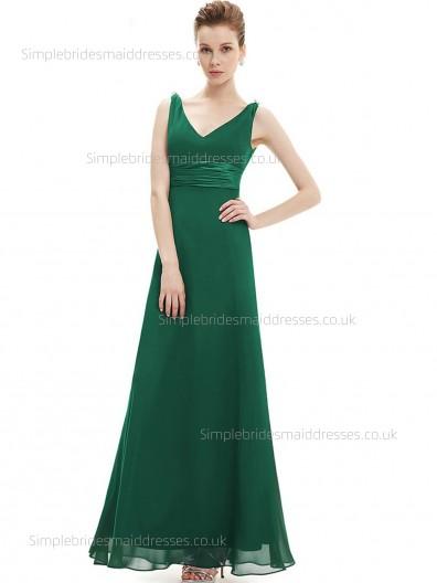 Beautiful Romantica Floor-length Green A-line V-neck Sleeveless Sash Chiffon Empire Bridesmaid Dress