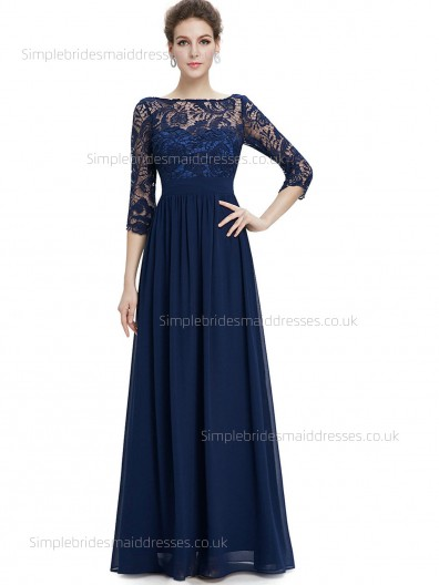 Fitted Discount Half-Sleeve Floor-length Natural A-line Dark Navy Chiffon Lace Bateau Bridesmaid Dress
