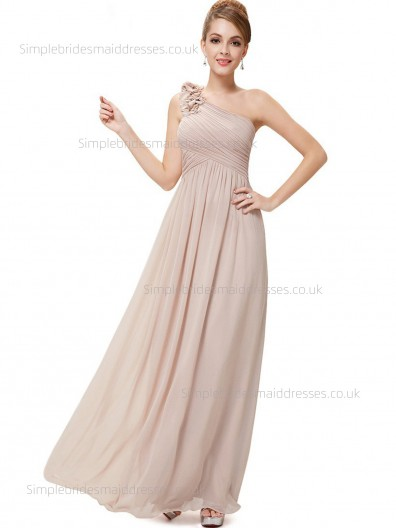 Online Empire Hand Made Flower A-line Chiffon Sleeveless Floor-length One Shoulder Bridesmaid Dress